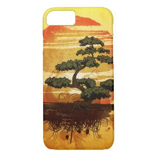 Puesta del sol japonesa del árbol de los bonsais funda iPhone 7