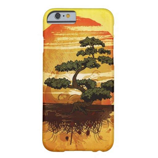 Puesta del sol japonesa del árbol de los bonsais funda para iPhone 6 barely there