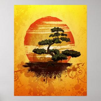 Puesta del sol japonesa del árbol de los bonsais poster
