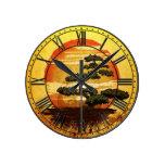 Puesta del sol japonesa del árbol de los bonsais reloj redondo mediano