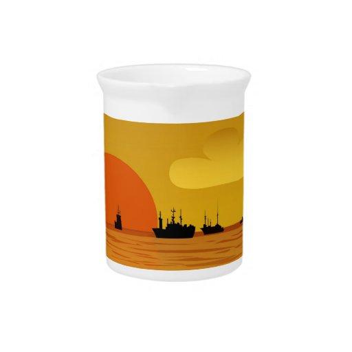 puesta del sol jarras de beber