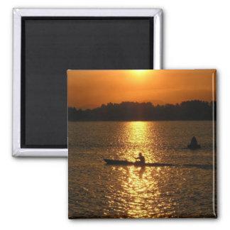 Puesta del sol Kayaking Imán De Frigorifico