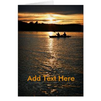 Puesta del sol Kayaking Tarjeta Pequeña