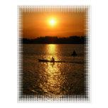 Puesta del sol Kayaking Tarjetas Postales