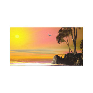 Puesta del sol impresión en lona