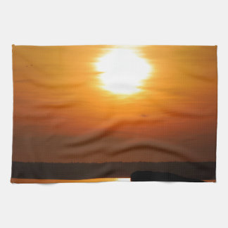 Puesta del sol llamativa toalla de mano