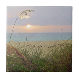 Puesta del sol lluviosa de la playa azulejo cuadrado pequeño