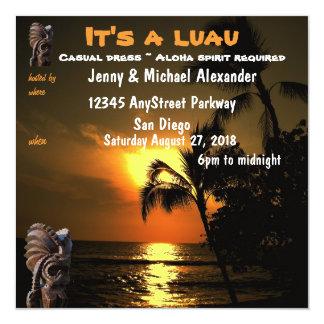 """Puesta del sol Luau hawaiano Tiki del océano Invitación 5.25"""" X 5.25"""""""
