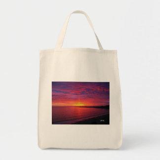 Puesta del sol magnífica bolsa tela para la compra