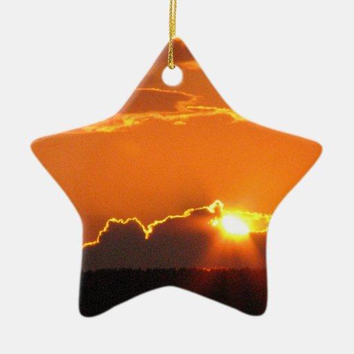 Puesta del sol magnífica adorno de cerámica en forma de estrella