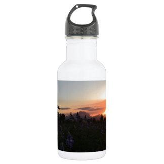 Puesta del sol magnífica del parque nacional de botella de agua de acero inoxidable