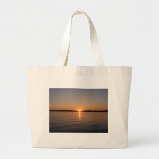 Puesta del sol Maine del lago Madawaska Bolsas Lienzo