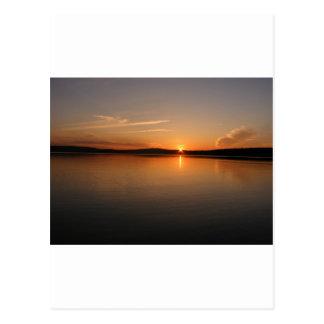 Puesta del sol Maine del lago Madawaska Postal