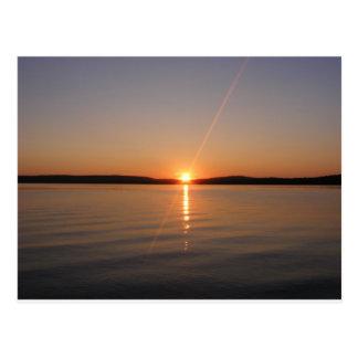 Puesta del sol Maine del lago Madawaska Postales