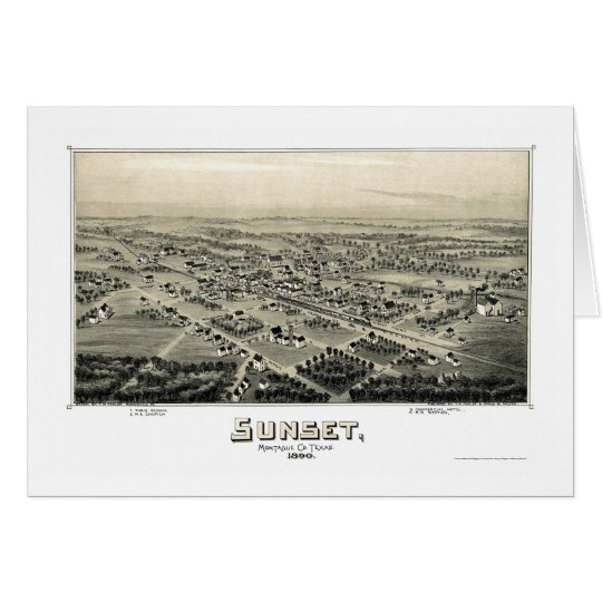 Puesta del sol, mapa panorámico de TX - 1890 Tarjeta De Felicitación