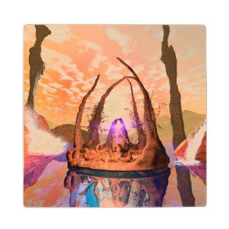 Puesta del sol maravillosa en un mundo de fantasía posavasos de arce