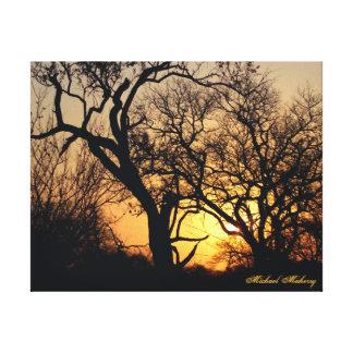 Puesta del sol maravillosa impresión en lona