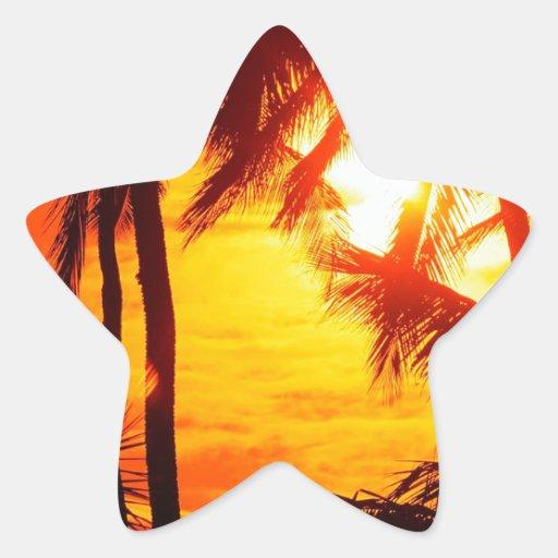 Puesta del sol Maui Calcomanias Forma De Estrella