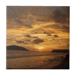 Puesta del sol mexicana de la playa azulejo cuadrado pequeño