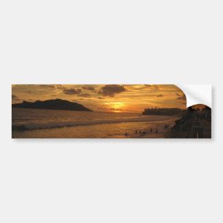 Puesta del sol mexicana de la playa pegatina para auto