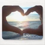 Puesta del sol Mousepad del océano del amor Alfombrilla De Ratones