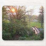 Puesta del sol Mousepad del puente del arco iris Tapetes De Ratón