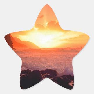 Puesta del sol Napali Kauai Hawaii Calcomania Forma De Estrella Personalizadas
