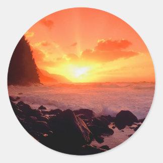 Puesta del sol Napali Kauai Hawaii Etiquetas Redondas