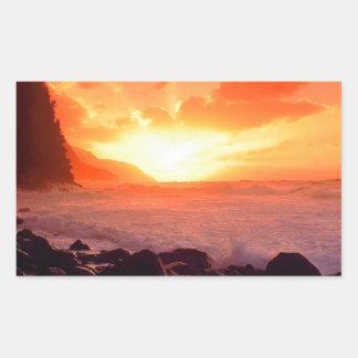 Puesta del sol Napali Kauai Hawaii Rectangular Pegatinas