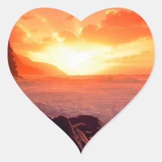 Puesta del sol Napali Kauai Hawaii Calcomanía De Corazón Personalizadas