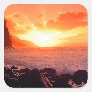 Puesta del sol Napali Kauai Hawaii Colcomanias Cuadradas Personalizadas