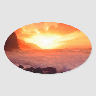 Puesta del sol Napali Kauai Hawaii Calcomania Oval Personalizadas