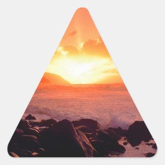Puesta del sol Napali Kauai Hawaii Calcomania Triangulo Personalizadas