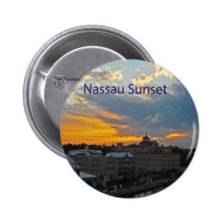 Puesta del sol, Nassau Bahamas Pin Redondo De 2 Pulgadas