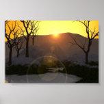 Puesta del sol Nevado Poster
