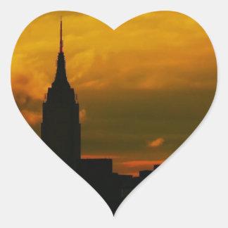 Puesta del sol New York City Calcomanías De Corazones