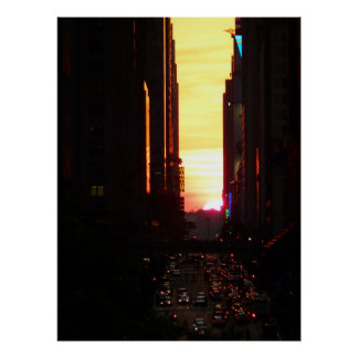 Puesta del sol New York City, todos los tamaños de Posters