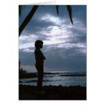 Puesta del sol nublada en Hawaii Felicitación