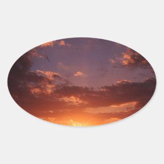 Puesta del sol Nueva Zelanda de terminación Calcomanías Ovales