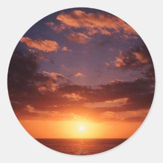 Puesta del sol Nueva Zelanda de terminación Pegatina Redonda
