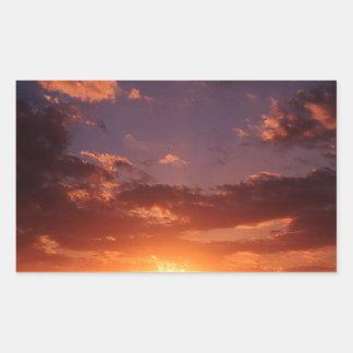 Puesta del sol Nueva Zelanda de terminación Rectangular Pegatina