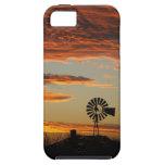 Puesta del sol occidental del molino de viento iPhone 5 cárcasas