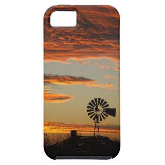Puesta del sol occidental del molino de viento funda para iPhone SE/5/5s