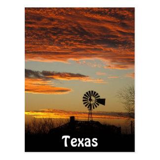 Puesta del sol occidental del molino de viento tarjetas postales