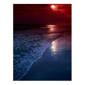 Puesta del sol, océano, arena, costa, la Florida,  Tarjetas Postales