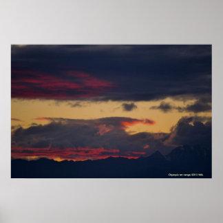 puesta del sol olímpica 2013 del mt póster