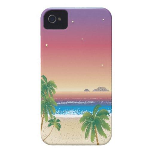 Puesta del sol oscura en la playa Case-Mate iPhone 4 cobertura
