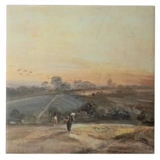 Puesta del sol otoñal azulejo cuadrado grande