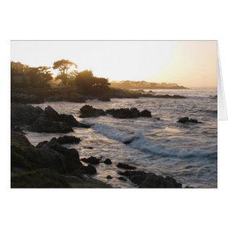 Puesta del sol pacífica de la arboleda tarjeta de felicitación