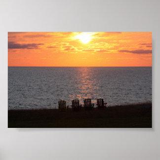 Puesta del sol pacífica de la tarde poster